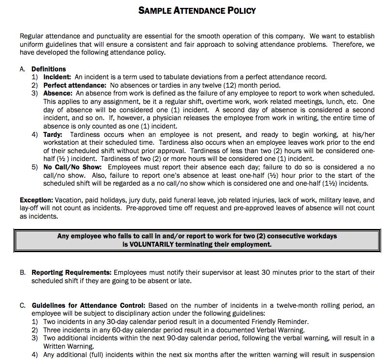 Sample Attendance Policy for a company, it could be as comprehensive ...