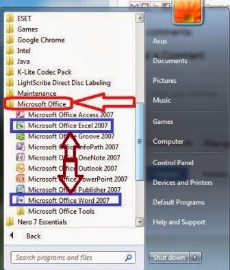 Tutorial Cara Membuka Program Microsoft Word dan excel