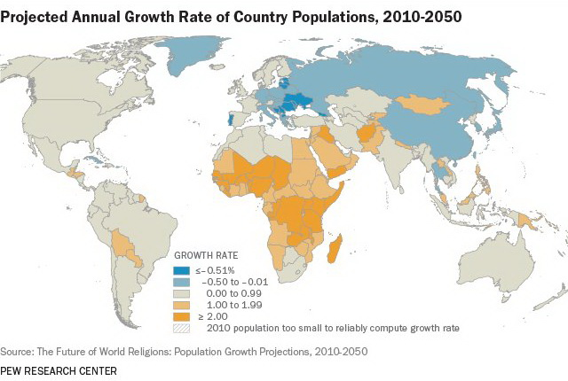 Projected annual growth rate of country population