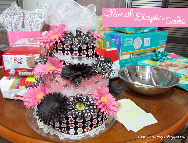 Black and pink diaper cake
