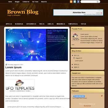BrownBlog blogger template. template blogspot magazine style. download brown color background blogger template