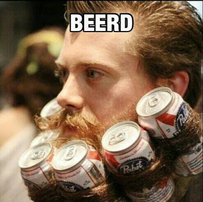 Beerd. Pabst Blue Ribbon rolled up into guys beard.