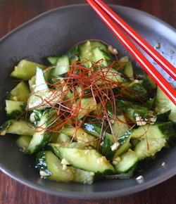chinese sichuan smacked cucumber in garlicky sauce recipe