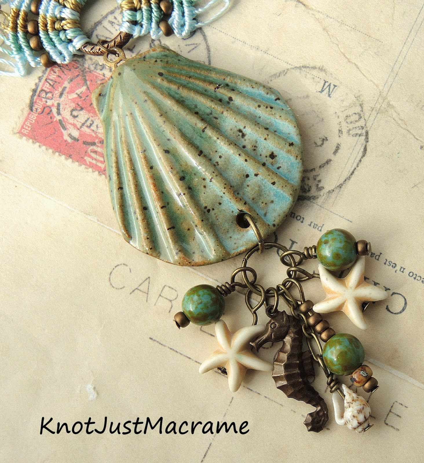 Ceramic sea shell pendant by Firefly Design Studio
