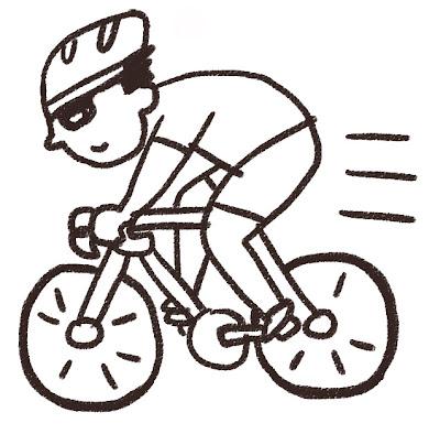 ロードバイクに乗っている選手のイラスト(スポーツ) モノクロ線画