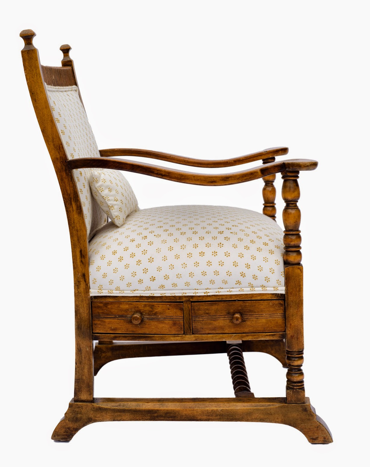 Antique Beech Wood Chair in Les Indiennes