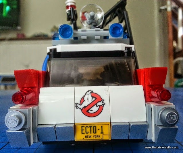 The LEGO Ghostbusters Ecto-1 Car and Minifigures set 21108 vehicle rear view tailgate