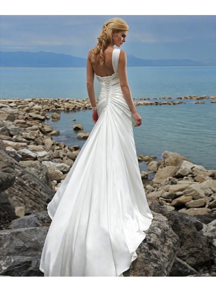 Vestido de Novia con un Hombro, Apliques en Pecho y Drapeado Diagonal
