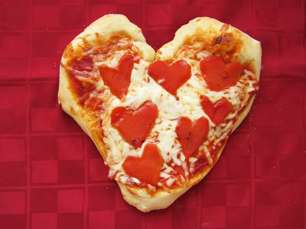 heart shaped roasted red pepper personal pizza
