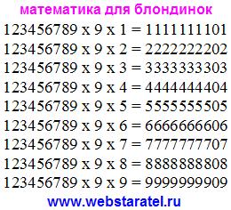 Интересная математика. Умножение набора цифр на девять и ещё одну цифру. В результате девять одинаковых цифр и ноль. Приколы в математике. Математика для блондинок.