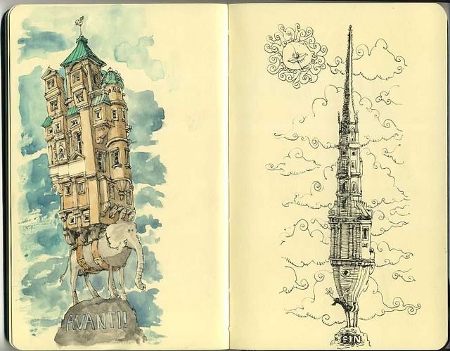 06-Avanti-Fin-Mattias-Adolfsson-Surreal-Architectural-Moleskine-Drawings-www-designstack-co