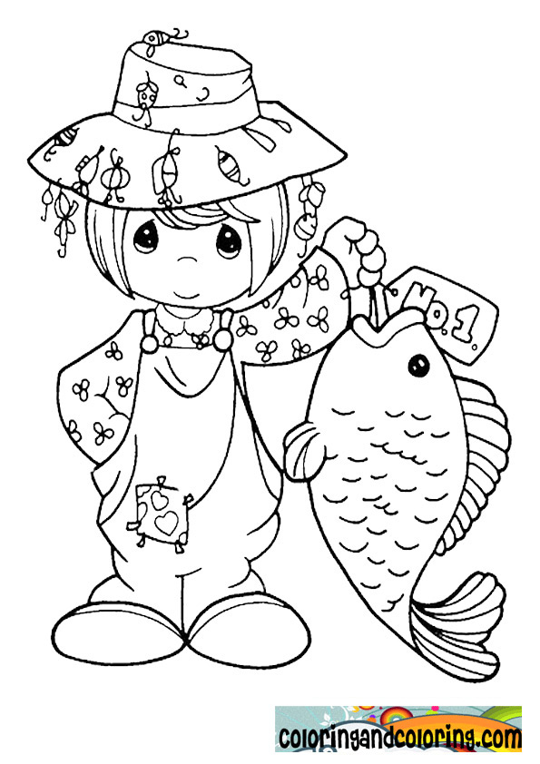 free coloring pages of image of a girl fishing