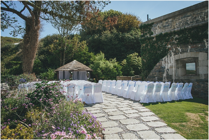 Chairs set for an outdoor wedding ceremony