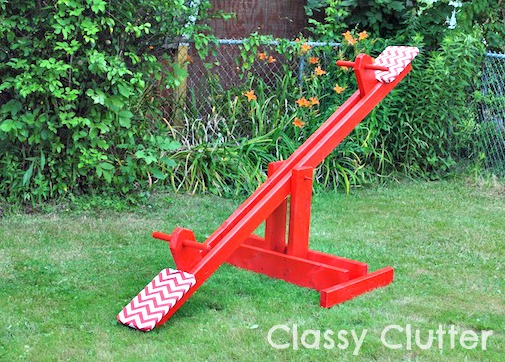 Diy kids seesaw for under 30 classy clutter inspired by ana whites birthday seesaw and i knew it was destined to be in my own backyard im a novice wood worker so i know that anyone can build solutioingenieria Choice Image