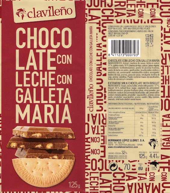 tablette de chocolat lait gourmand clavileño clavileno chocolate con leche con galleta maria