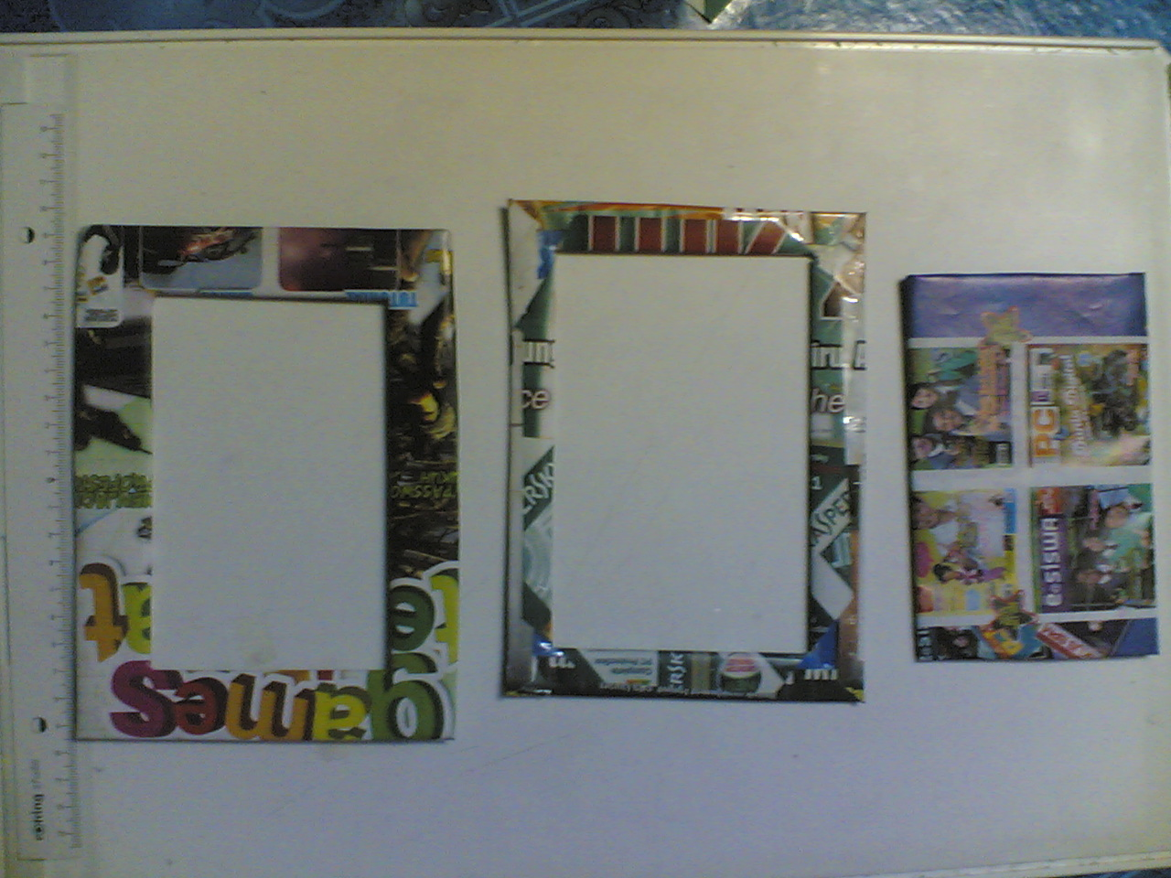 decorate cardboard frame with a magazine ,