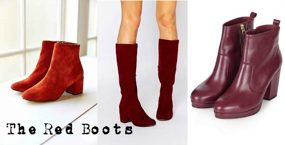 Red ankle and knee high boots wishlist for aw15