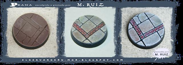 peana realizada por M.Ruiz, tanto pintura como modelado, para la miniatura esculpida por RU-MOR de un personaje de Ghilbrae para el juego de rol de Aventuras en la Marca del Este