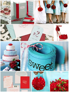 aqua and red wedding inspiratin board