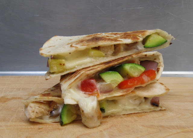 Recipe: Grilled chicken and vegetable quesadillas