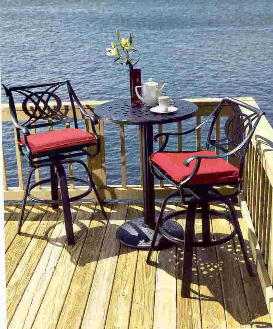 Perfect Telescope Cadiz Cast Aluminum Patio Furniture With Bar Height Chairs And A  Round Table.