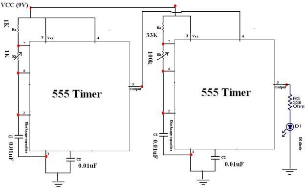 Complete circuit diagram for ir transmitter circuit using 555 timer ic for ir remote