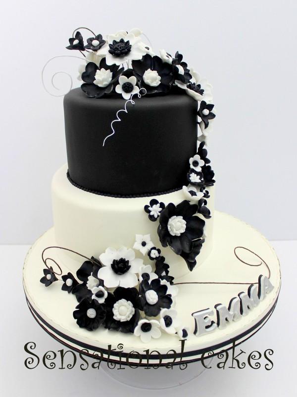 The Sensational Cakes: BLACK WHITE THEME WEDDING CAKE SINGAPORE ...