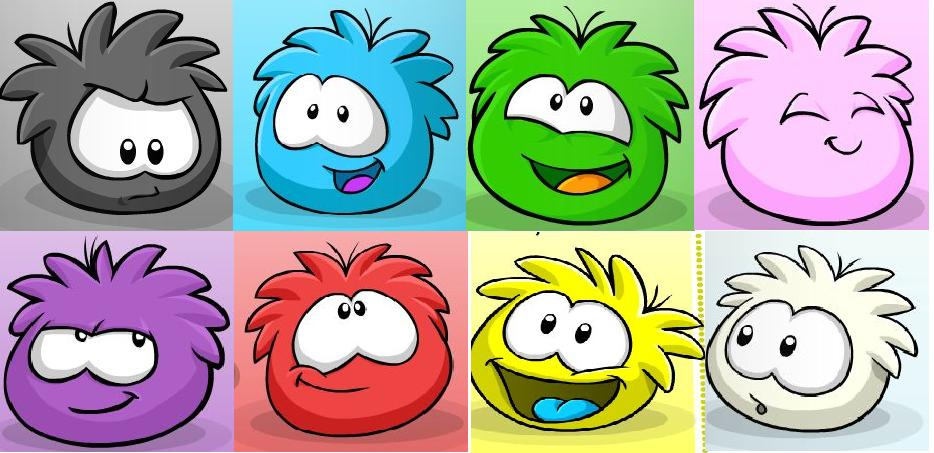 Here Is A Picture Of The First Eight Puffles Out On The Island Below