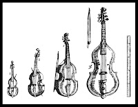 The viol family from Michael Praetorius's Syntagma musicum, 1618