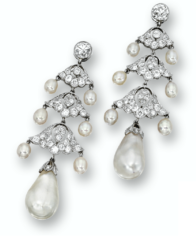 Marie poutines jewels royals pearl and diamond earrings natural pearl and diamond chandelier earrings aloadofball Image collections