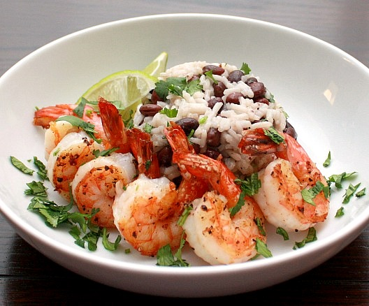 APPLE A DAY: Orange-Tequila Shrimp with Cilantro-Lime Rice and Beans