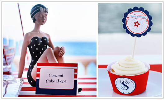 red white blue party food label and cupcake topper