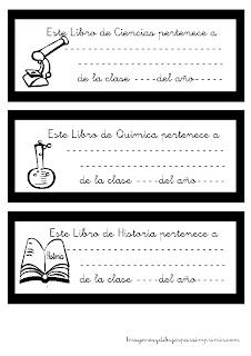Etiquetas para libros por asignaturas