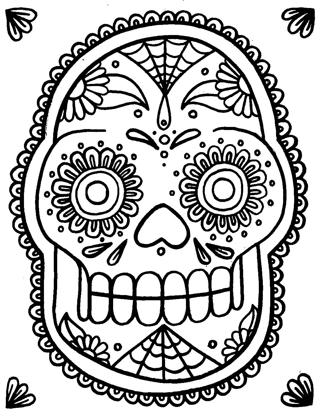 Vibrant image throughout printable sugar skulls coloring pages