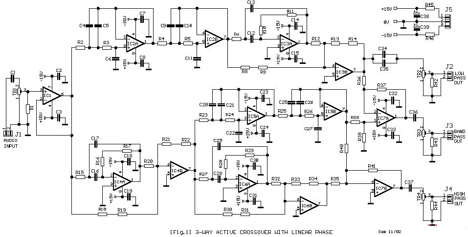 simple 3 way active crossover circuit diagram