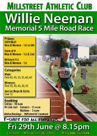 5m race in Millstreet, NW Cork... Fri 29th June 2018