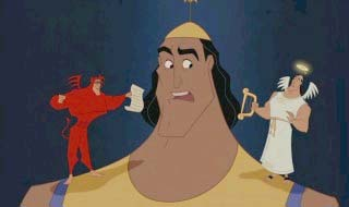 Kronk with angel and devil The Emperor's New Groove 2000 animatedfilmreviews.blogspot.com