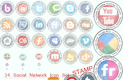 Faded Round Stamps Social Icons