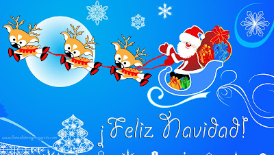 Santa Claus y sus renos son postales de Navidad