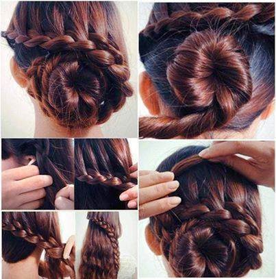 Elegant hairstyle braiding bun idea