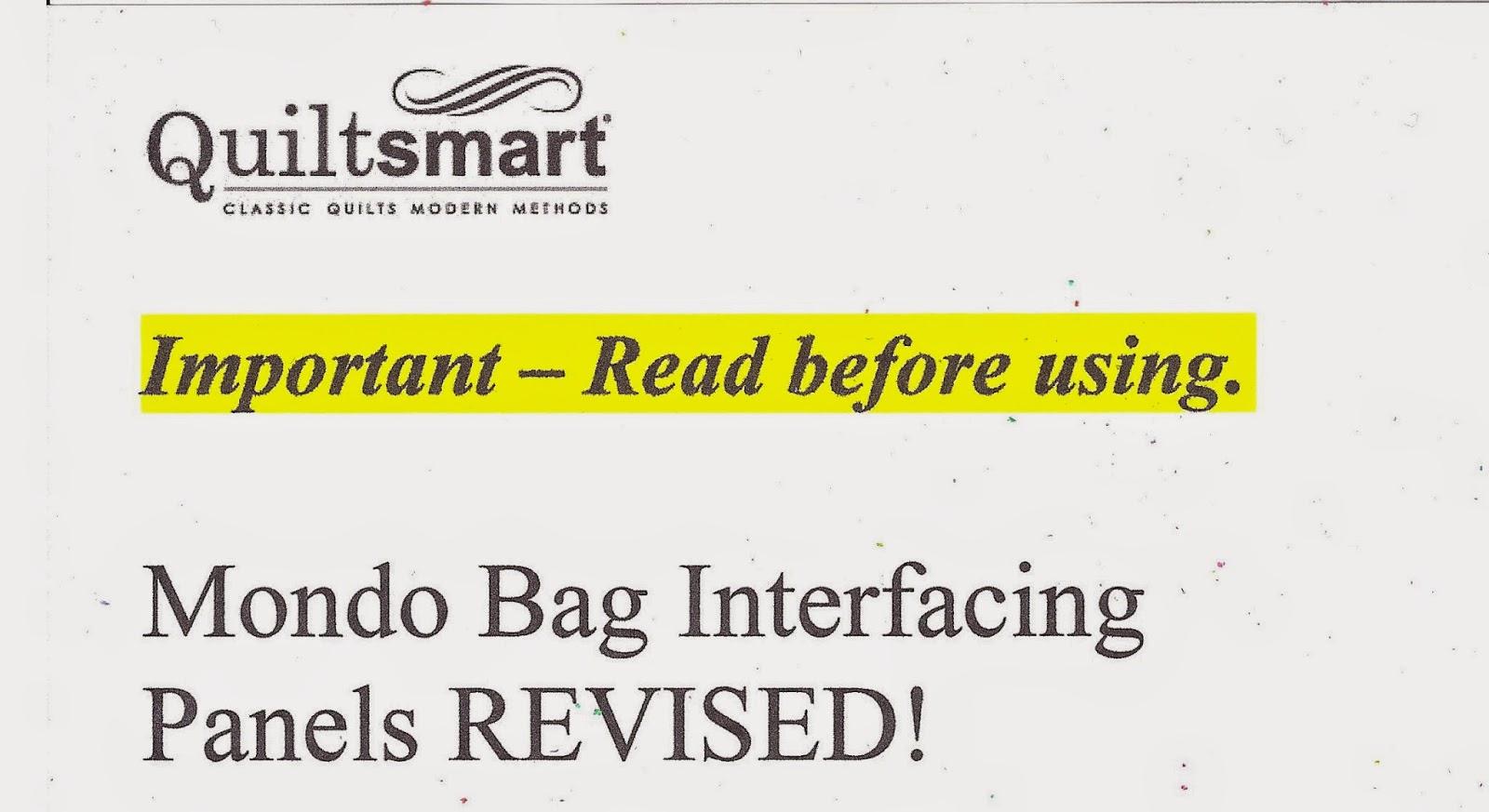 Quiltsmart Mondo Bag Interfacing Panels Photo