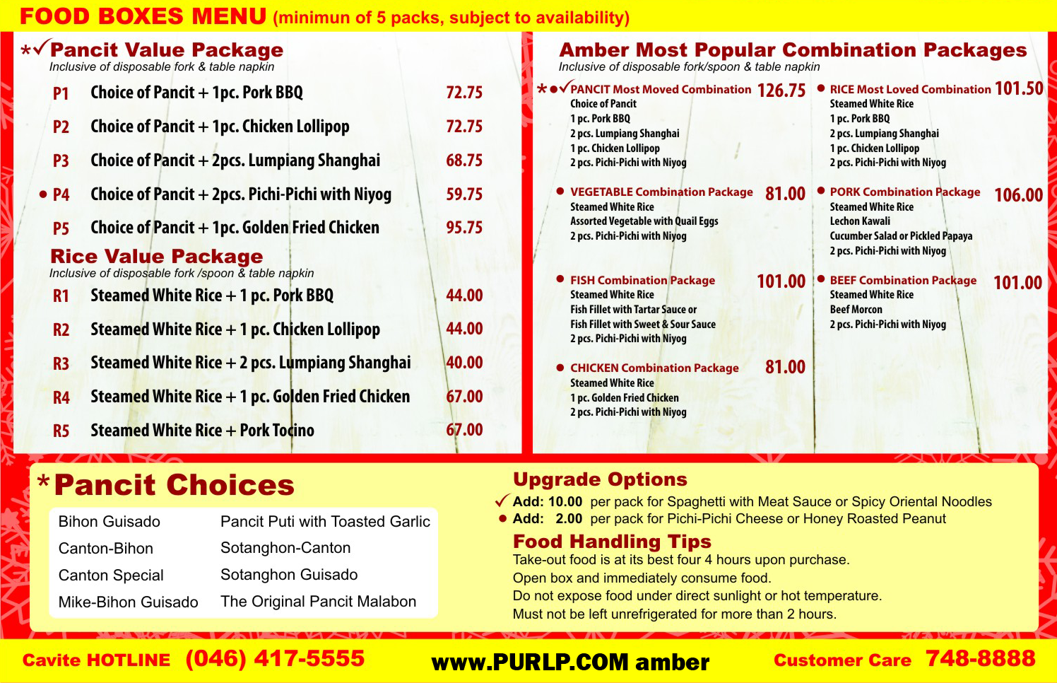 Amber Restaurant Delivery Menu December