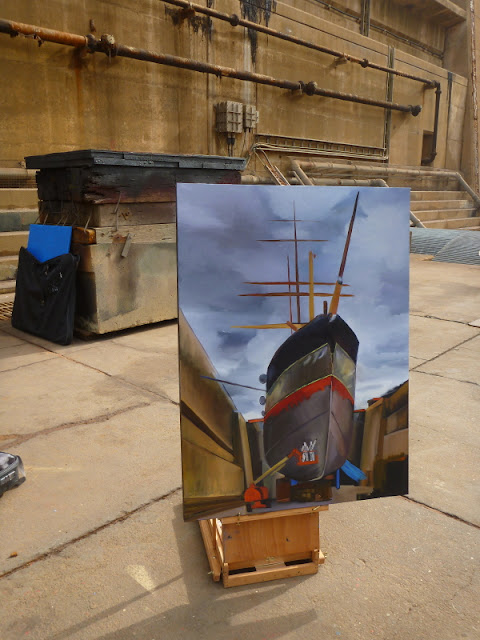 "Unfinished plein air painting of  ""Painters with 'James Craig ' in Garden Island dry dock"" by Jane Bennett"