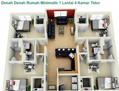 Desain rumah minimalis 1 lantai 4 kamar tidur nyaman
