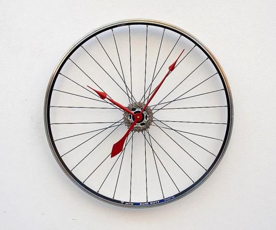 Etsy Recycled Bike Wheel Clock