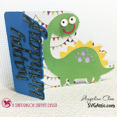 SVG Attic: Dino time with Angeline - JGW Dino party #svgattic #scrappyscrappy #dino #party #birthday