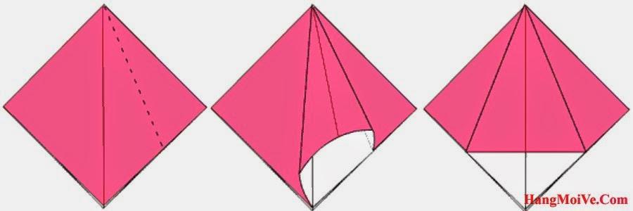 Bước 6: Mở lớp giấy bên phải của hình tứ giác đều theo hướng từ bên trong ra bên ngoài (hình 2) rồi gấp xuống ta được hình 3.