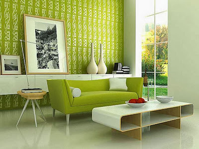 Modern living room green wallpaper
