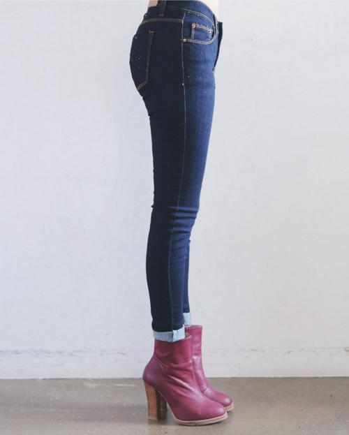 Skinny Fit Contrast Stitch Denim Pants