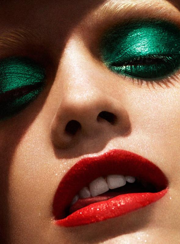Maquiagem verde para colorir as noites